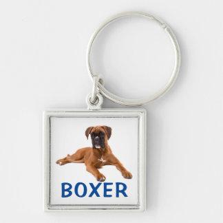 Boxer Puppy Dog Blue Love Keychain