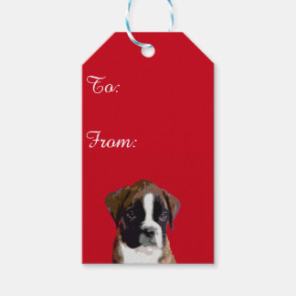 Boxer puppy dog gift tags