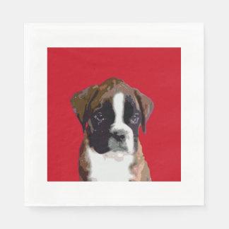 Boxer puppy dog paper napkins