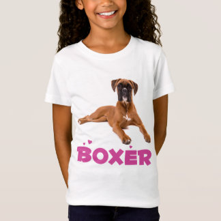 Boxer Puppy Dog Purple Love Girls Tee Shirt