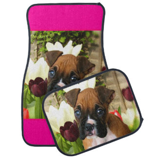 Boxer puppy in tulips car mat