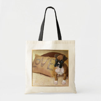 Boxer puppy love tote bag