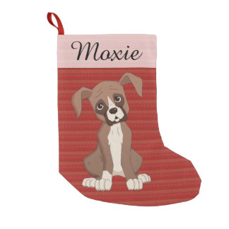 Boxer puppy on a Red Christmas Pattern Small Christmas Stocking