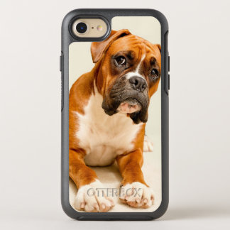 Boxer puppy on ivory cream backdrop. OtterBox symmetry iPhone 7 case