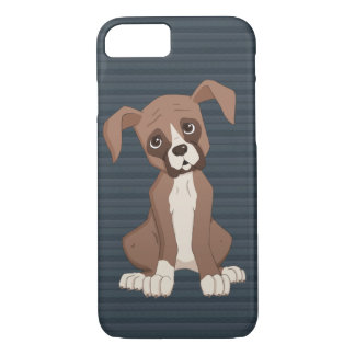 Boxer puppy on Navy Blue Pattern Background Case-Mate iPhone Case