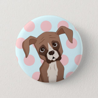 Boxer puppy on Pink Polka Dots 2 Inch Round Button