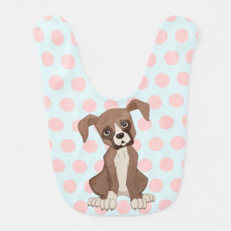 Boxer puppy on Pink Polka Dots Baby Bib