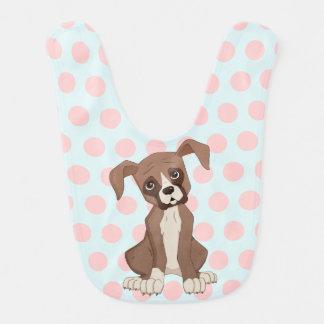 Boxer puppy on Pink Polka Dots Bib