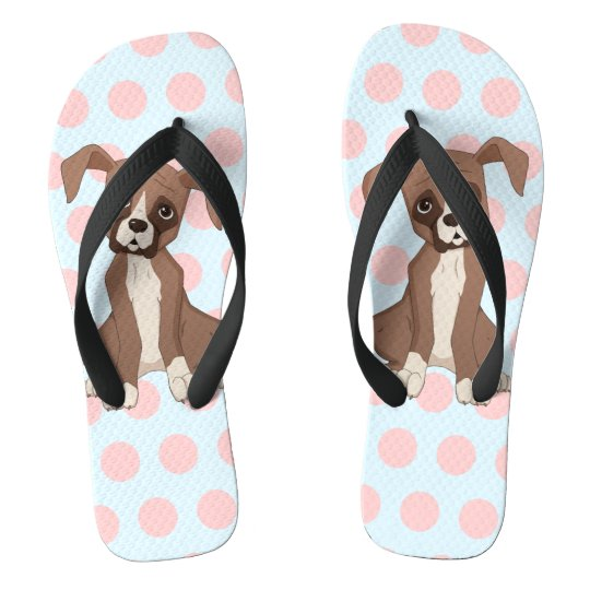 Boxer puppy on Pink Polka Dots Flip Flops