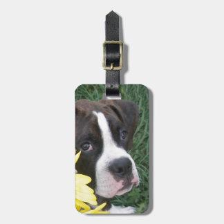 Boxer Puppy Peeking around Sunflowers Luggage Tag