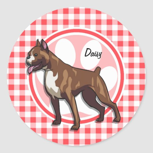 Boxer; Red and White Gingham Round Sticker