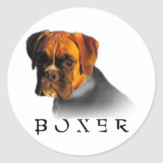 Boxer Round Sticker