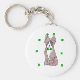 Boxer Saint Patricks Day Basic Round Button Keychain
