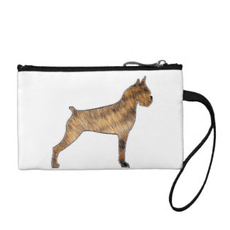 boxer silhouette brindle fur coin purse