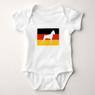 boxer silo on flag white baby bodysuit