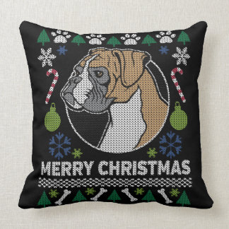 Boxer Ugly Christmas Sweater Dog Design Throw Pillow
