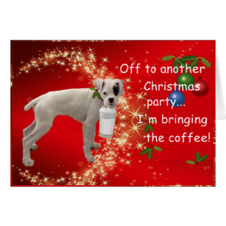 Boxer with Coffee Christmas Card