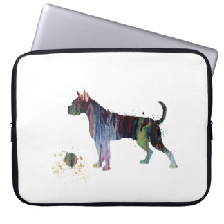 Boxer with toy laptop sleeve