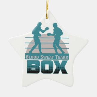 boxers sparring ceramic ornament