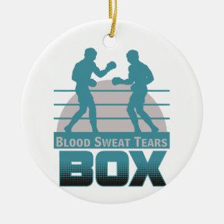 boxers sparring round ceramic ornament