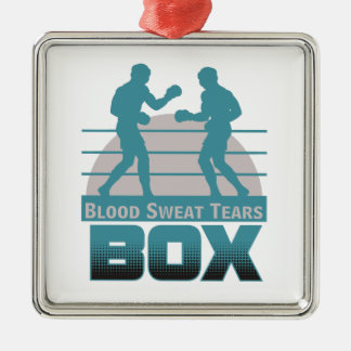 boxers sparring Silver-Colored square ornament