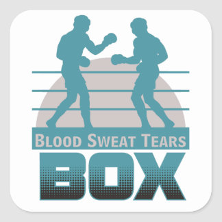 boxers sparring square sticker