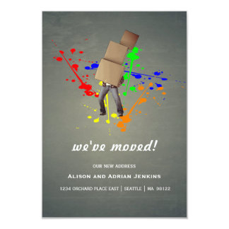 Boxes and Paint Splatter | Change of Address Card