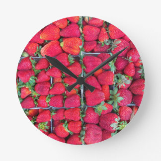 Boxes filled with red strawberries round clock