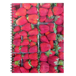 Boxes filled with red strawberries spiral notebook