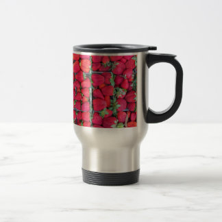 Boxes filled with red strawberries travel mug