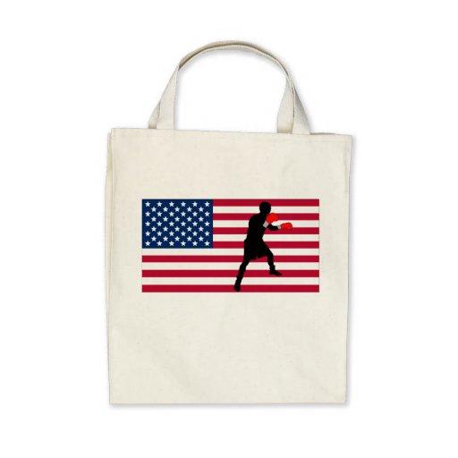 Boxing American Flag Tote Bags