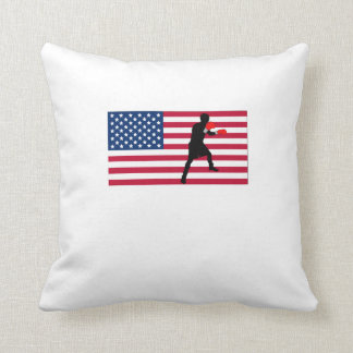 Boxing American Flag Throw Pillows