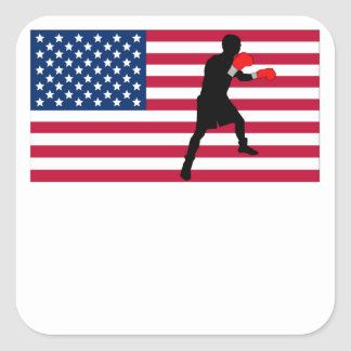 Boxing American Flag Square Sticker