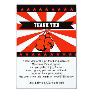 Boxing Baby Shower Thank You Card Note