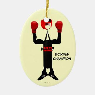 Boxing Champion Cartoon Ceramic Ornament