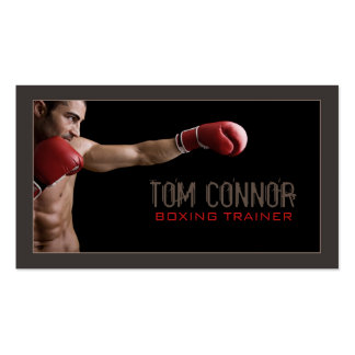 Boxing Coach Fitness Instructor Dark Business Card