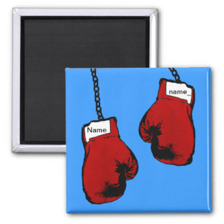 Boxing Gloves - Custom Name Square Magnet