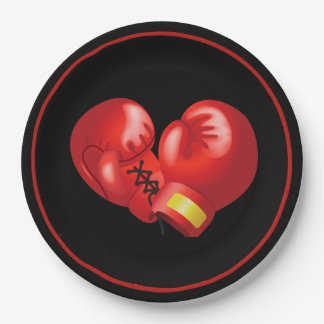 Boxing Gloves Design Paper Party Plate 9 Inch Paper Plate