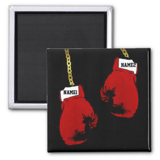 Boxing Gloves Square Magnet