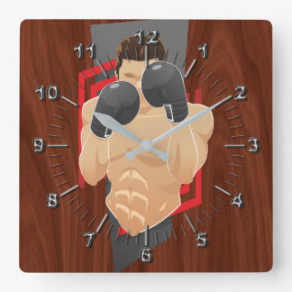 Boxing gym square wall clock