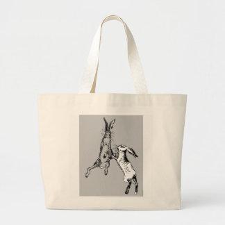 Boxing Hares Grey Large Tote Bag