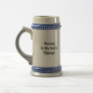 Boxing Is My Son's Therapy 18 Oz Beer Stein