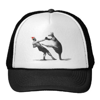 boxing kangaroo christmas trucker hat