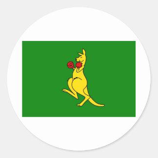 "Boxing kangaroo collector item""s round sticker"