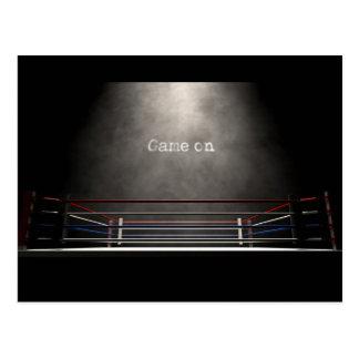 Boxing Ring Spotlit Game On Postcard