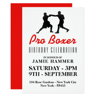 Boxing Silhouette Birthday Party Card