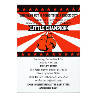 Boxing Sports Baby Boy Shower Invitation