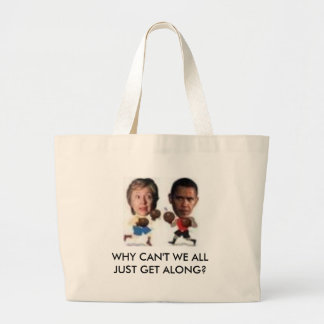 boxing, WHY CAN'T WE ALL JUST GET ... - Customized Large Tote Bag