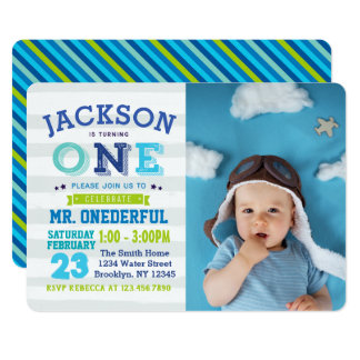 Boy 1st Birthday Invitation Photo Mr. ONEderful