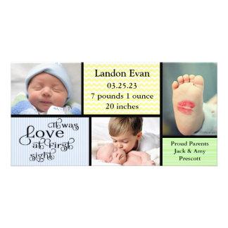 Boy 3 Photo Collage -Birth Announcement Photo Card